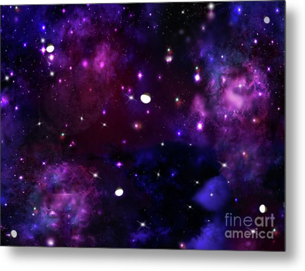 Midnight Blue Purple Galaxy Metal Print
