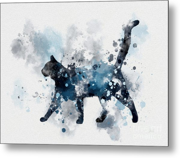 Midnight Cat Metal Print