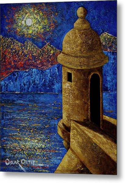 Metal Print featuring the painting Midnight Mirage In San Juan by Oscar Ortiz