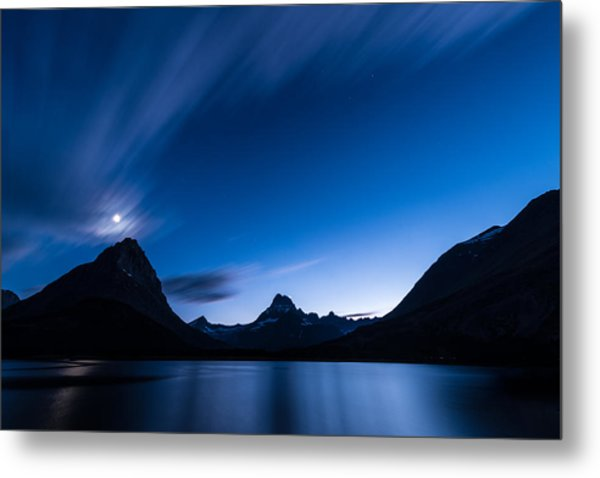 Midnight Over Glacier National Park Metal Print