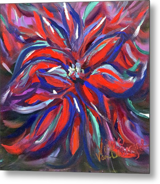 Midnight Poinsettia Metal Print