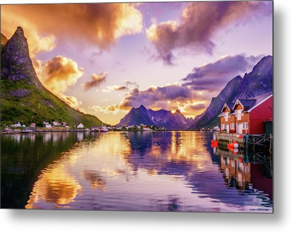 Midnight Sun Reflections In Reine Metal Print
