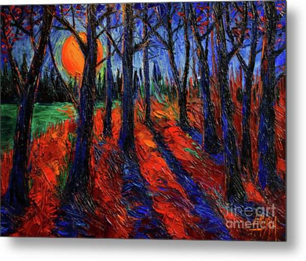 Midnight Sun Wood Modern Impressionist Palette Knife Oil Painting By Mona Edulesco Metal Print