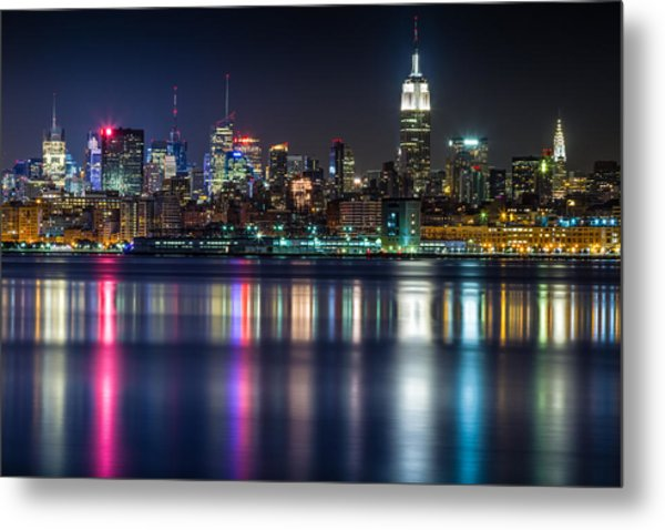 Midtown Manhattan From Jersey City At Night Metal Print