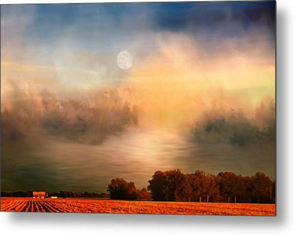 Midwest Harvest Moon Metal Print