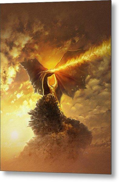 Metal Print featuring the digital art Mighty Dragon by Uwe Jarling