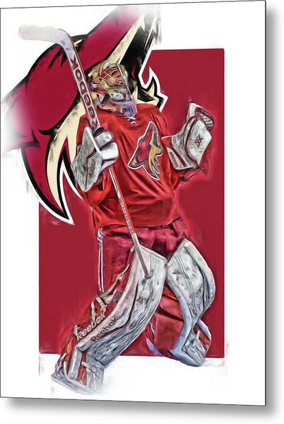 Mike Smith Arizona Coyotes Oil Art Metal Print