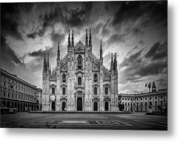 Milan Cathedral Santa Maria Nascente Monochrome Metal Print