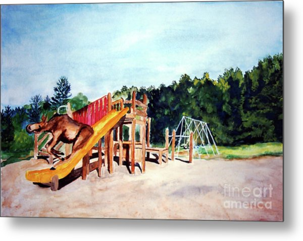 Mildred Goes Down The Slide Metal Print