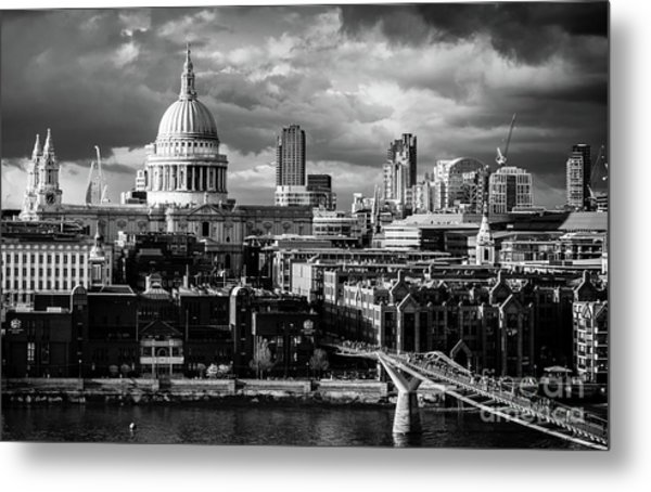Milennium Bridge And St. Pauls, London Metal Print