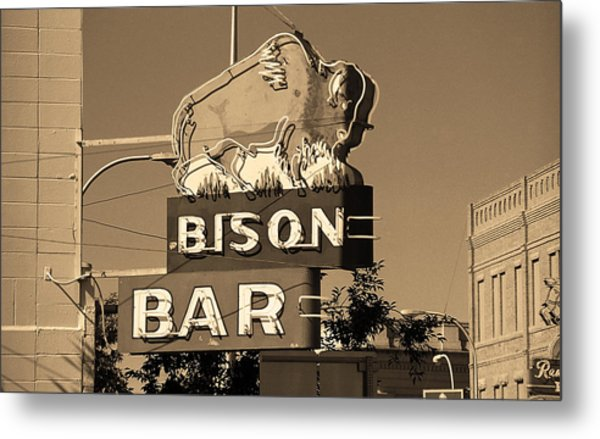 Miles City, Montana - Bison Bar Sepia Metal Print