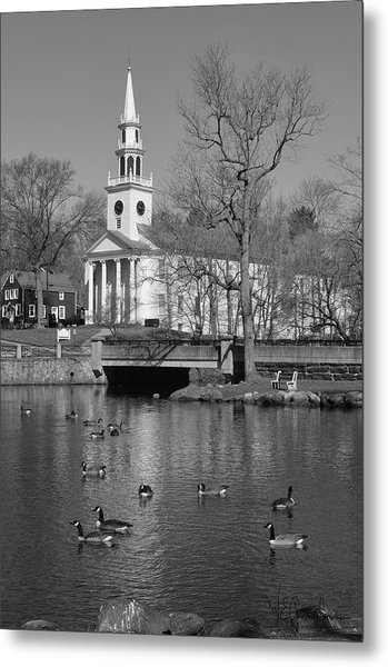 Milford Congregational Church Bw Metal Print