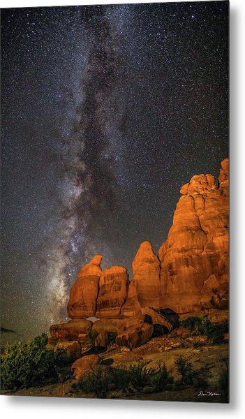 Milky Way And Navajo Rocks Metal Print