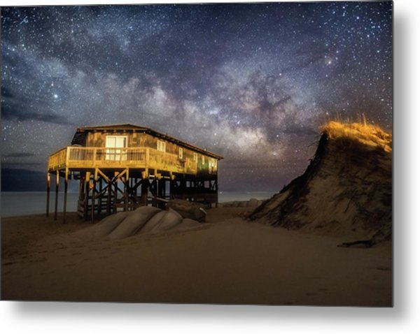 Milky Way Beach House Metal Print