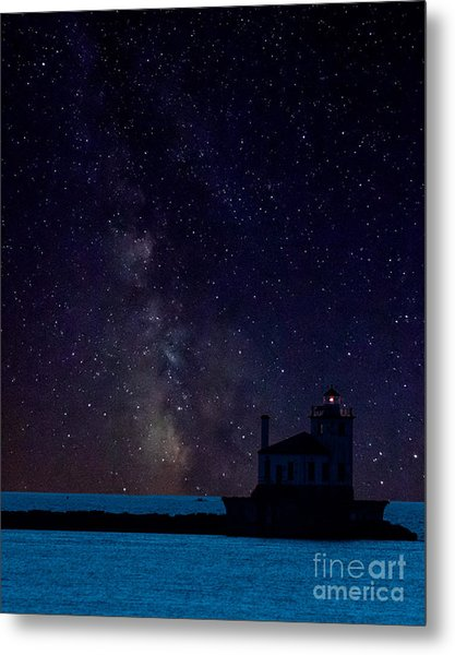 Milky Way Lighthouse Metal Print