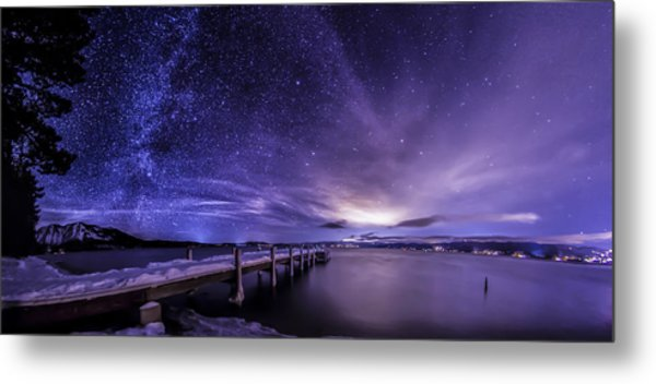 Milky Way Mountains Metal Print