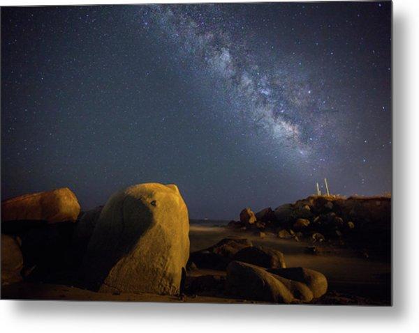 Milky Way On The Beach Metal Print