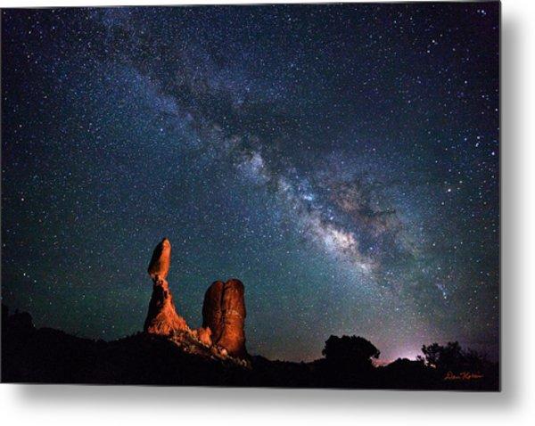 Milky Way Over Balanced Rock Metal Print