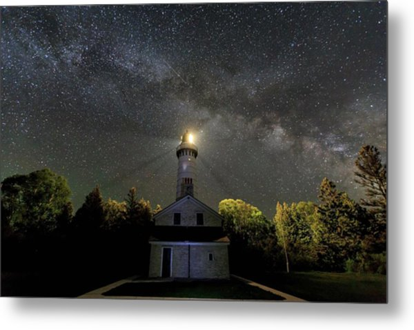 Milky Way Over Cana Island Lighthouse Metal Print