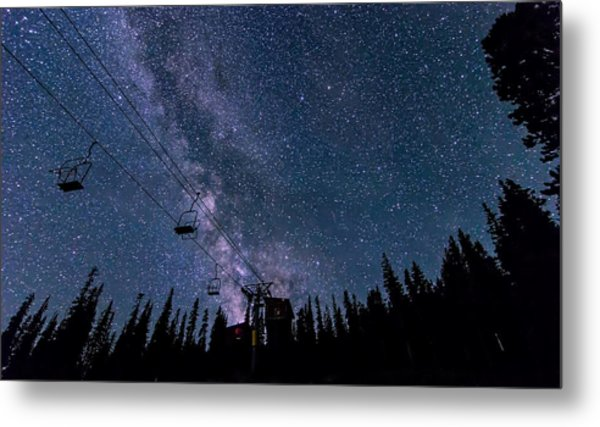 Milky Way Over Chairlift Metal Print