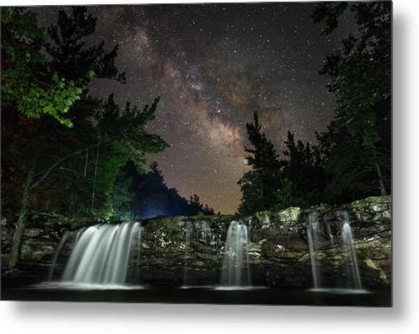 Milky Way Over Falling Waters Metal Print