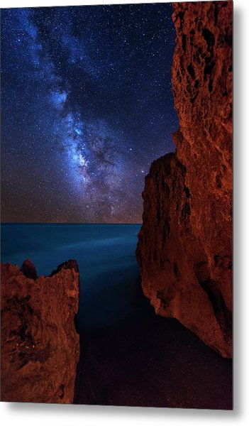 Milky Way Over Huchinson Island Beach Florida Metal Print