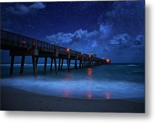 Milky Way Over Juno Beach Pier Under Moonlight Metal Print