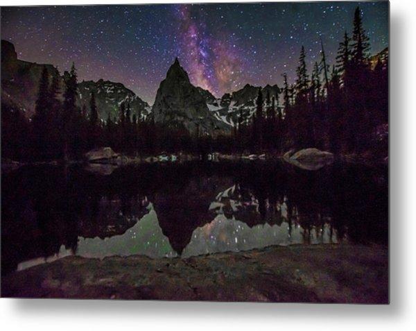 Milky Way Over Lone Eagle Peak And Mirror Lake Metal Print
