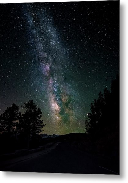 Milky Way Over Rocky Mountains Metal Print