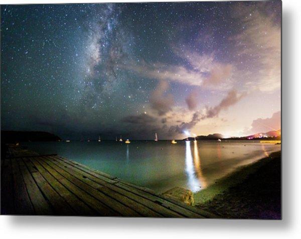 Milky Way Over Sugar Cane Pier Metal Print by Karl Alexander