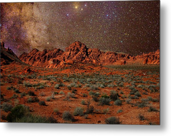 Milky Way Rising Over The Valley Of Fire Metal Print