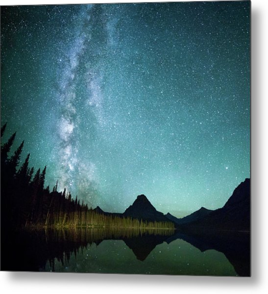 Milky Way // Two Medicine Lake, Glacier National Park Metal Print