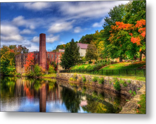 Mill Building - Autumn In Laconia Nh Metal Print by Joann Vitali