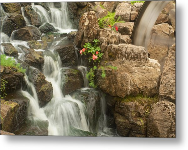 Metal Print featuring the photograph Mill Wheel With Waterfall by David Coblitz