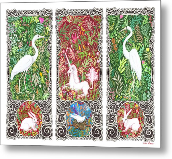 Millefleurs Triptych With Unicorn, Cranes, Rabbits And Dove Metal Print