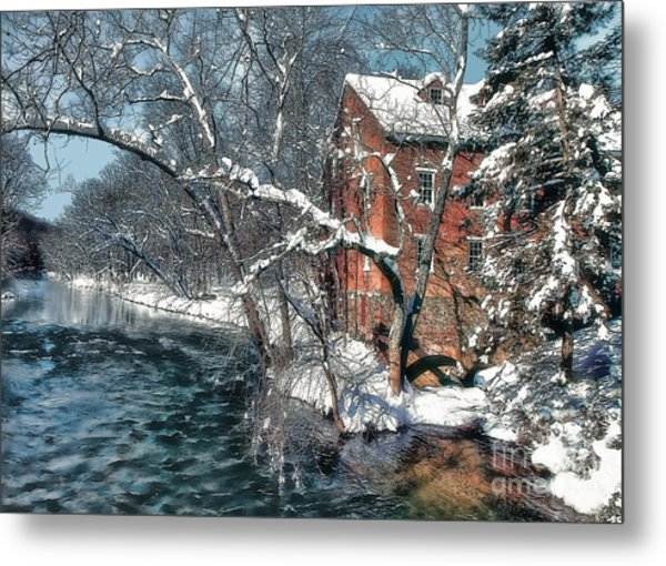 Mill House In Winter Metal Print
