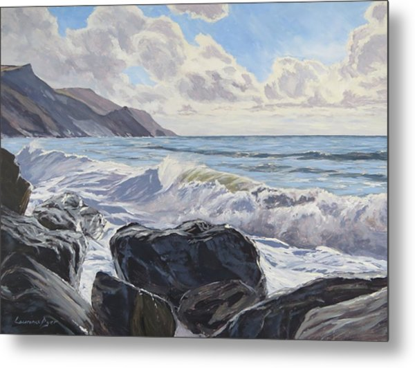 Metal Print featuring the painting Millook Haven by Lawrence Dyer
