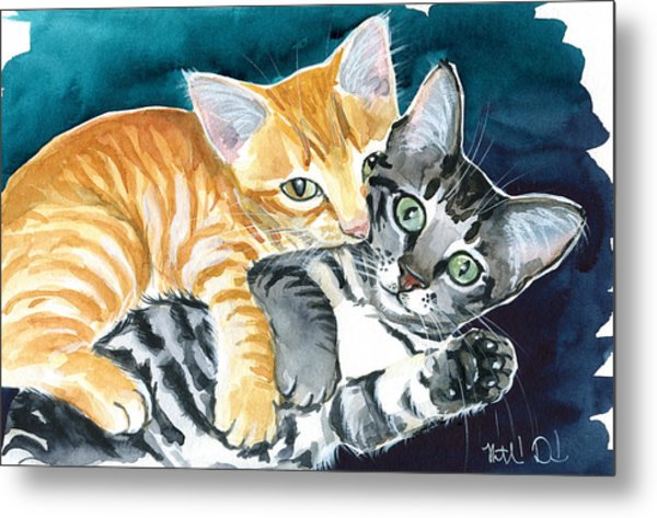 Milo And Tigger - Cute Kitty Painting Metal Print