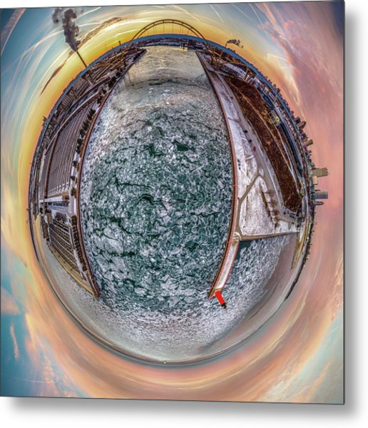 Milwaukee River Little Planet Metal Print