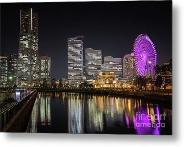 Minato Mirai At Night Metal Print
