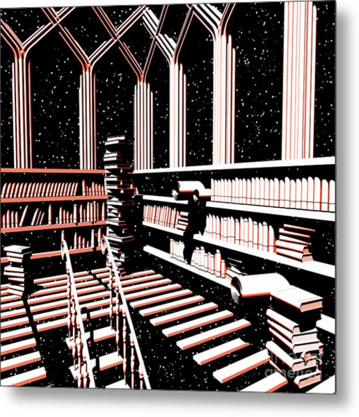 Metal Print featuring the digital art Mind Library Glowing by Russell Kightley