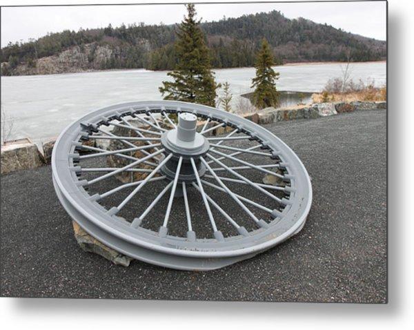 Mine Shaft Wheel Metal Print by Richard Mitchell