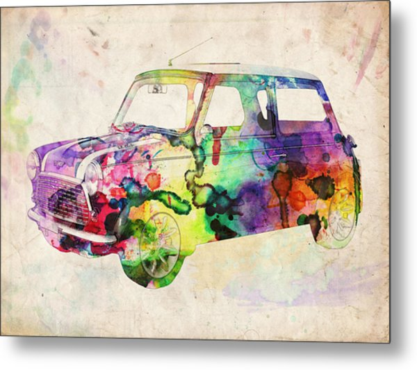 Mini Cooper Urban Art Metal Print