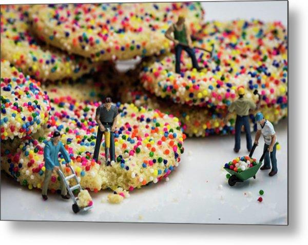 Miniature Construction Workers On Sprinkle Cookies Metal Print