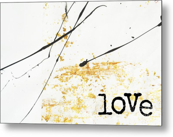 Minimalist Love Collage Gold And Black Metal Print