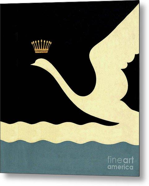 Minimalist Swan Queen Flying Crowned Swan Metal Print