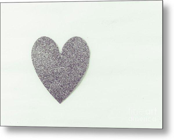 Minimalistic Silver Glitter Heart Metal Print