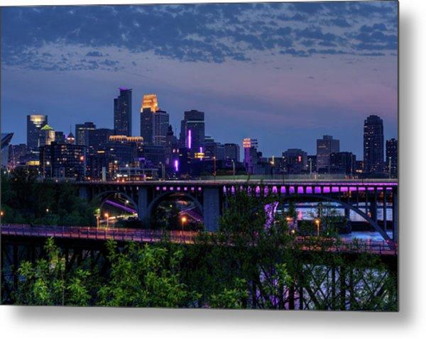 Minneapolis In Purple 1 Metal Print