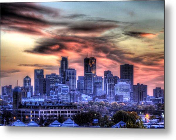 Minneapolis Skyline Autumn Sunset Metal Print