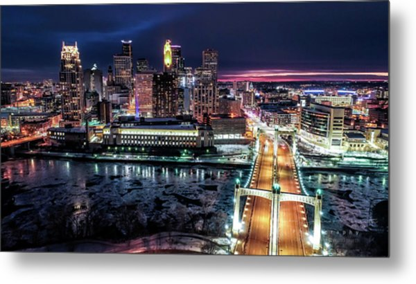 Minneapolis Skyline From The Mississippi River Metal Print